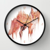 Remix Red Fox Wall Clock by Ben Geiger
