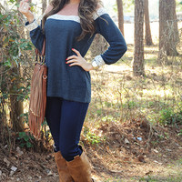 Never Giving Up Sweater: Navy/Blush | Hope's