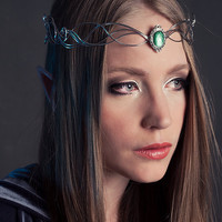 Elven faerie silver crown bridal tiara with green gem