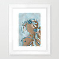 Zoey the woman feathers Framed Art Print by LouJah