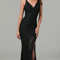 Floor Length Spaghetti Strap Lace Dress