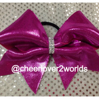 Pink Metallic w/rhinestone Center Cheer Bow