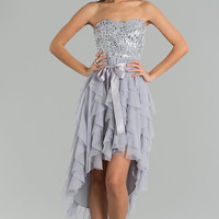 High Low Strapless Sequin Embellished Dress