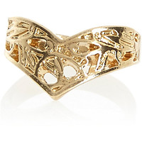 Gold tone filigree V midi ring - rings - jewelry - women