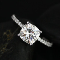 Blanche 14kt White Gold Thin FB Moissanite Cushion and Diamond Halo Engagement Ring (Other metals and stone options available)