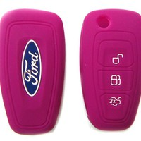 Ford Pink Silicone Protecting Key Case Cover Fob Holder for Focus Fiesta