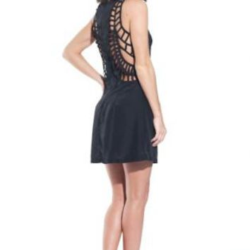 Black Cage Cutout Cage Back Sleeveless Dress