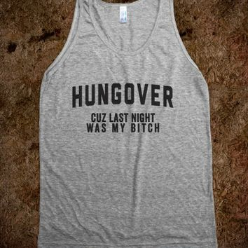 Hungover-Unisex Athletic Grey Tank