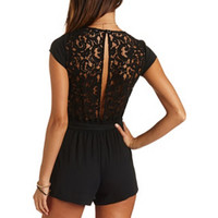 CAP SLEEVE BACKLESS LACE ROMPER