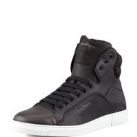 Salvatore Ferragamo Sisto Mixed-Media High-Top Sneaker, Black/Chocolate