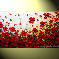 """Original Art Abstract Painting Red Flowers Poppies Modern Landscape Palette Knife Textured Floral Poppy Large Wall Decor 24x48"""" -Christine"""