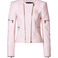Balmain - Leather Bold Shoulder Quilted Jacket