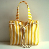 Sailor Tote Bag yellow and white striped with by bayanhippo