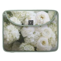white hydrangeas and ranunculus MacBook Pro sleeve
