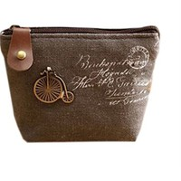 Retro Chic European Old Fashioned Uni-Bike Canvas Coin Purse