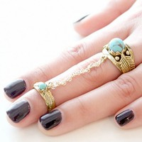 SunaharA Leaf Chain Ring in Gold