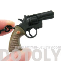 Small Realistic Gun Pistol Revolver Shaped Plastic Pendant Necklace