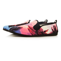 """Flossy"" Pink Hawaii Sunset Print Plimsolls - New This Week - New In - TOPMAN USA"