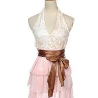 Anna-Kaci Free Size Cream Bronze Baby Pink Understated Floral Halter Mini Dress