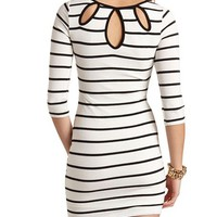 BACK CUT-OUT STRIPED SWEATER DRESS