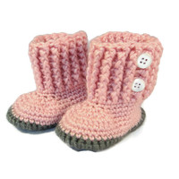 Pink Baby Booties Boots Shoes Pink Gray