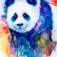 Panda watercolor painting print , bear, animal, illustration, animal watercolor, animals paintings, animals, portrait,