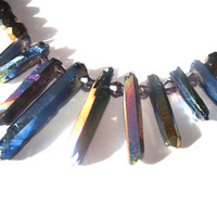 Titanium Point Beaded Necklace For Women Iridescent Titanium Black Iridescent Coated Glass Beads