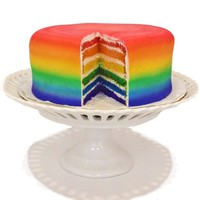 "Rainbow Cake with 6 Rainbow Layers & Fondant - Made in a Nut-Free Bakery - The Famous Pinterest ""Rainbow Cake""!"