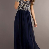 Custom Made Blue A line Strapless Chiffon Long Prom Dresses, Evening Dresses, Formal Dresses, dress for prom