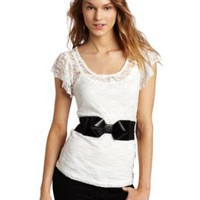 A. Byer Juniors Lace Top Scoop Neck And Flutter Sleeves Tee