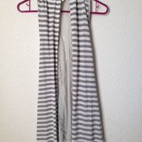 White And Grey Gray Striped Cardigan Vest With Lace Back By Charming Charlie M