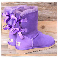 UGG Australia Womens Bailey Bow Purple Reign Short Classic Boots US 11 UK 9.5 42
