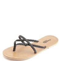 BRAIDED STRAPPY THONG SANDALS