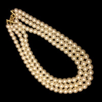 Vintage faux pearl necklace three strand white pearl necklace multi strand pearl necklace