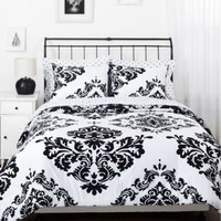 BLACK WHITE DAMASK Queen COMFORTER SET - REVERSIBLE MODERN SWIRL TOILE