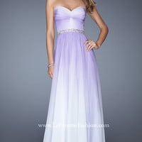 Long Ruched Strapless Sweetheart La Femme Dress