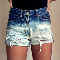 High-Waisted Levis Ombre Bleached Distressed Jean Shorts-- 30 inch waist