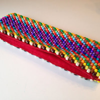 Colorful Bag, Rainbow Clutch Bag, Beaded Purse, Kandi Clutch