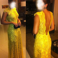 Cheap Lace Prom dress,Lemon Long Prom Dress ,Elegant evening dress,party dress