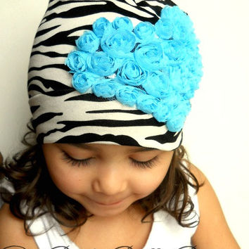 Valentine baby girl zebra hat, cotton beanie.Ready to ship