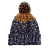 River Island Bobble Hat in Navy Twist