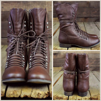 Emory Scalloped Lace Up Military Combat Boots Light Brown