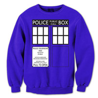 Police Box TARDIS - funny hip retro tv show dr doctor who parody england uk phone booth nerdy geek new - Mens Royal Blue Sweatshirt DB0021