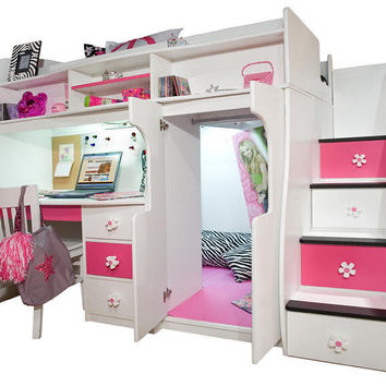 Elena's White Twin Size Secret Stairway Loft Bed