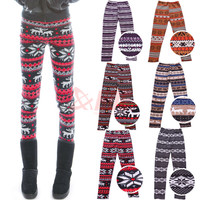 Knitted Nordic Insulated Thick Warm Winter Fleece Reindeer Snowflakes Leggings