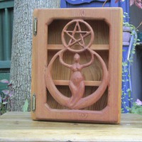 Crescent Moon Goddess Pentacle Cabinet-Creative Protection Altar Box | signsofspirit - Woodworking on ArtFire