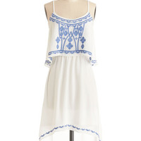 ModCloth Festival Mid-length Spaghetti Straps High-Low Hem A New Lighthearted Dress