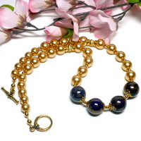 "Blue Lapis Porcelain and Czech Gold Glass Pearl 17 1/2"" Necklace"