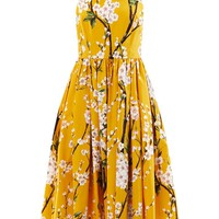 Almond blossom-print sun dress