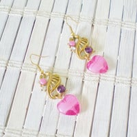 Pink Heart & Purple Rhinestone Earrings by RetroRevivalBoutique